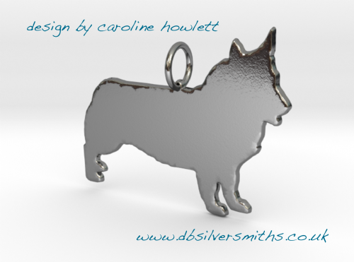 Swedish Valhund  pendant necklace sterling silver handmade